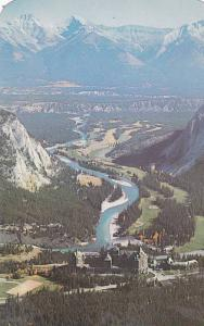 Aerial View, Banff Springs Hotel, Beautiful Bow River Valley, Canadian Rockie...