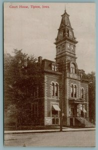 Tipton Iowa~It's 1:57 PM~Steep Mansard Roof on Courthouse Clocktower 1910