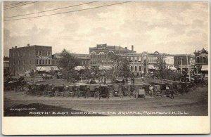 1910s Monmouth, Illinois Postcard Northeast Corner of the Square Albertype