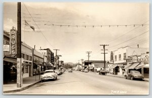 Willits CA~Main Street~Cafe~Bakery~Flying A Gas~Sprouse Reitz Store~1953 RPPC