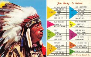 Busy Person Correspondence Card~Too Busy~Indian Chief~1960s Postcard