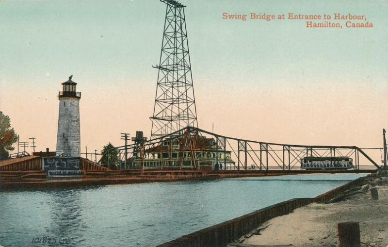 Light House and Electric Rail Trolley on Swing Bridge Hamilton Ontario Canada DB