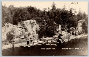 Taylors Falls MN~Lone Man by Boat Dock, 3 Rowboats~Inter State Park RPPC c1914