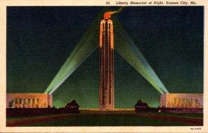 Missouri Kansas City Liberty Memorial At Night Curteich