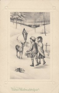 CHRISTMAS, 1900-10s; Children approaching doe deer, Crucifixion, Winter Scene