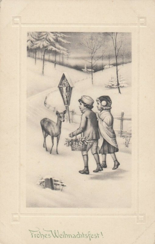 CHRISTMAS, 1900-10s; Children approaching doe deer, Crucifixion, Winter Scene