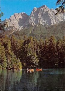 Grainau Badersee mit Waxenstein, Schiff Boats Lake Forest Mountain