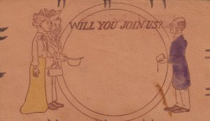 COMIC, 1900-10s; Will you join us? Preacher inviting Couple