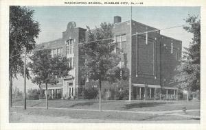 Charles City IA Little Hydrant by Old Washington School Blt 1920s? Postcard 1940