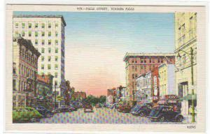 Falls Street Walgreen Cars Niagara Falls New York linen postcard