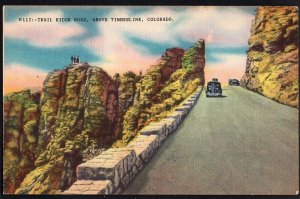Colorado Trail Ridge Road above Timberline with older car - LINEN