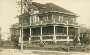 Coleraine MN American Square Home w/Wrap-Around Porch~Flower Boxes~RPPC c1910