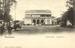 indonesia, JAVA SOERABAIA, Jalan Pasar Besar, Bakery Grimm & Co. (1899) Postcard