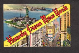 NY NYC Howdy From Statue of Liberty  New York City Times Square Pepsi Postcard