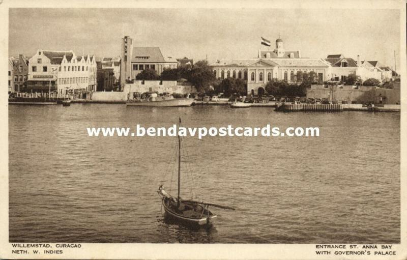 curacao, N.W.I., WILLEMSTAD, Entrance St. Anna Bay, Governor's Palace (1950s)