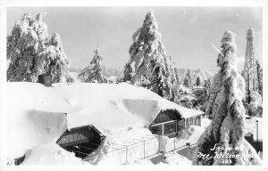 RPPC MOUNT WILSON HOTEL Winter Snow Scene Los Angeles County Postcard ca 1950s