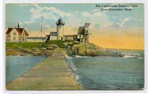 Lighthouse Eastern Point East Gloucester Massachusetts 1910s postcard