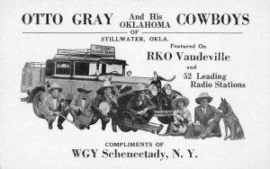 Otto Gray and His Oklahoma Cowboys RKO Vaudeville Band Music Ad PC JJ658999