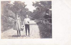 Falwell Family, Boy & Girl Walking & Holding A Small Bucket, GILEAD, ME 1900-10s