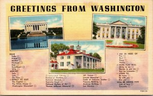 LOT OF 6 : Washington DC Linen District of Columbia UNPOSTED POSTCARD