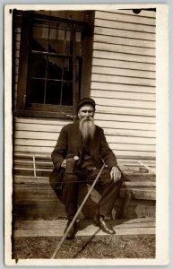 RPPC~Old Fella with Long Beard & Metal Sprinkling Can & Hoe?~c1906