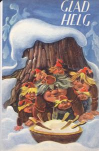 Christmas : GLAD HELG , 1920s : Artist Geepo ; Trolls eating soup