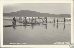 brazil, SANTOS, Pescadores, Fisher Fishermen (1930s) RPPC