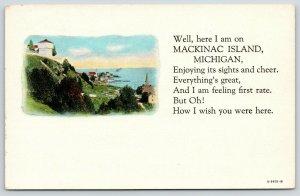 Wish You Were Here in Mackinac Island Michigan~Blockhouse Vignette~Poem~1940s