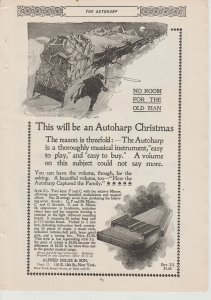 Autoharp 1895 Print Ad, Santa With Autoharp in His Sleigh~Alfred Dolge & Son~NY