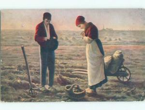 Pre-Linen signed FARMERS PRAY FOR A GOOD CROP k6547