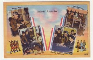P1105 linen card unused military indoor activities multi view