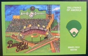 Mint USA Picture Postcard Braves Field Boston Ballparks Of America
