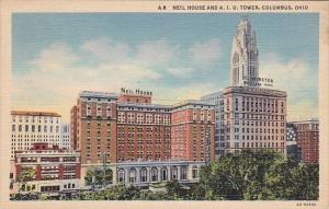 Ohio Columbus Neil House And A I U Tower Columbus 1942