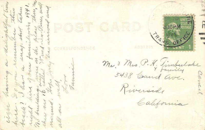 RPPC Sebago Lake Beach Wind in Pines Portland Maine 1945 Cancel Vintage Postcard