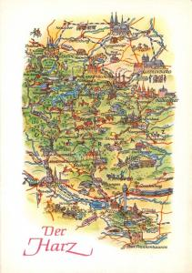 1974 Landkarte Der Harz Germany Map Postcard 41D
