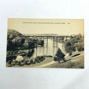 Clinton MA view from Wachusett Dam 1940s vintage postcard