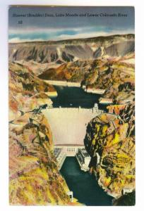 Hoover (Boulder) Dam, Lake Mead & Colorado River unused Linen Postcard