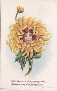 Fond Greetings From Mademoiselle Chrysanthemum With Young Girl's Face 1910