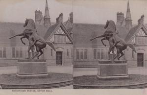 Stereoscope Postcard ; Equestrian Statue , EATON HALL , England , 00-10s ; TU...