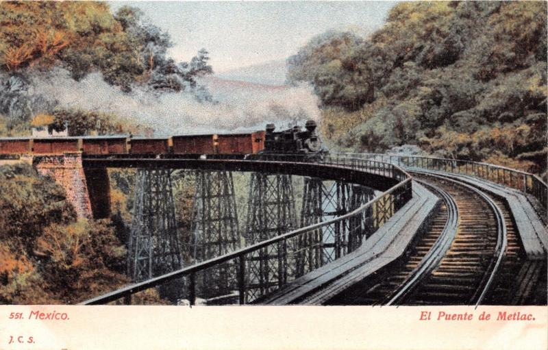 MEXICO~EL PUENTE de METLAC~STEAM RAILROAD~J.C.S. #551 PUBLISHED POSTCARD 1900s