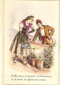 CAtalan couple. Romance. Watering the plants. Spanish postcard 1960s