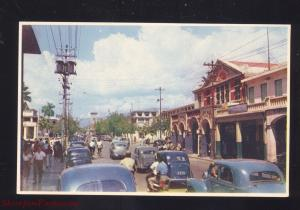 KINGSTON JAMAICA DOWNTOWN KING STREET SCENE 1930's CARS VINTAGE POSTCARD