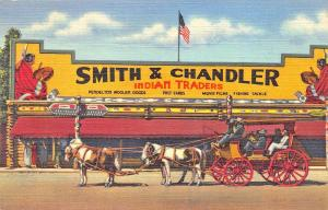 Yellowstone MT Old Stage Coach Smith & Chandler Indian Traders Curt Teich PC