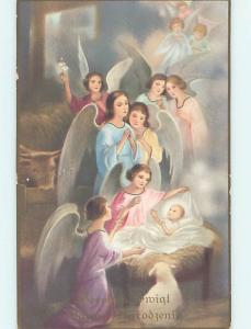 Pre-Linen foreign PRETTY ANGELS VISIT BABY JESUS IN NATIVITY MANGER HJ4665