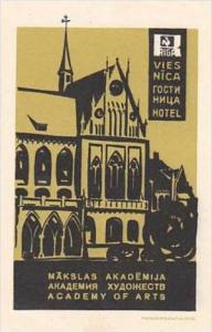 RUSSIA RIGA ACADEMY OF ARTS VINTAGE LUGGAGE LABEL