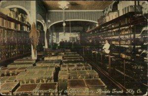 Jacksonville FL Alligator Leather Goods Trunk Mfg Co Store Interior Postcard