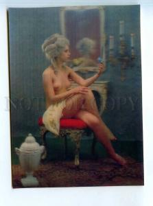251651 PIN UP NUDE girl model OLD IMCO 3-D lenticular postcard