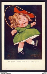 Wednesday's Child Is Merry and Glad - JS artist - girl skipping rope