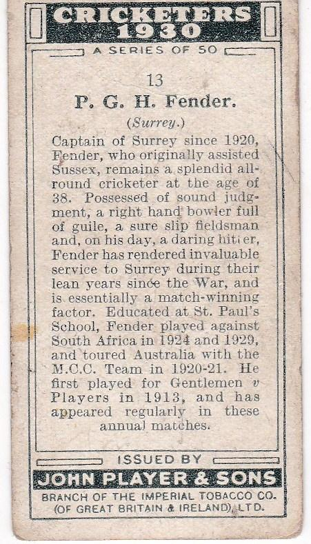 Cigarette Cards Player's Cricketers 1930 No 13 - P G H Fender