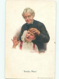 Pre-Linen Comic signed BOY DOESN'T WANT MOM CLEANING HIS FACE ON SUNDAY AB8861